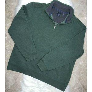 ARROW Green Gray 1/4 Zip Sweatshirt Pullover XL